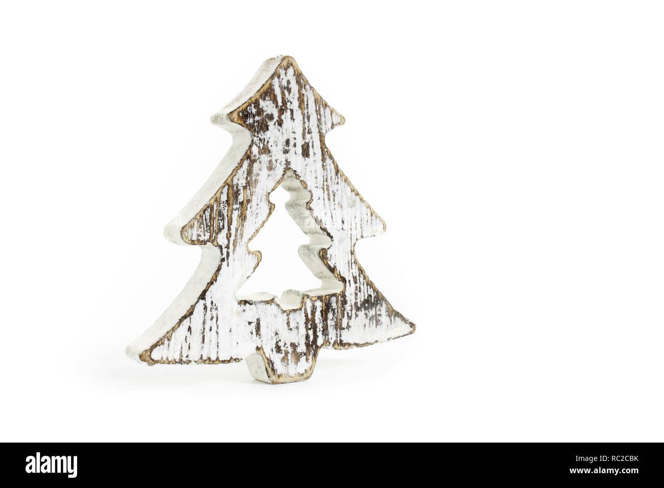 Weisse Minimalistische Snowy Christbaumschmuck Aus Holz Mit Vintage