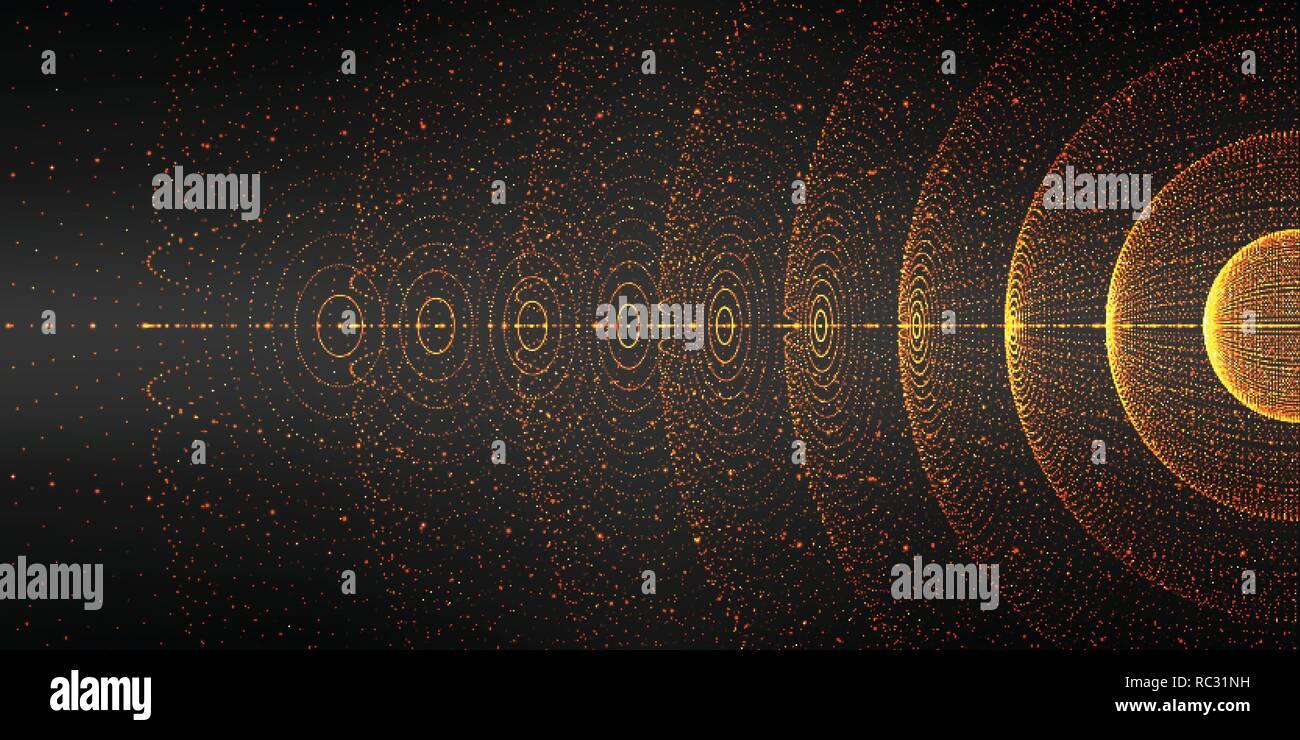 Vektor den interstellaren Raum Hintergrund. Kosmische Galaxie Abbildung. Hintergrund mit Nebula, Stardust und hell leuchtenden Sterne. Vector Illustration für Party, Artwork, Broschüren und Poster. Stockbild