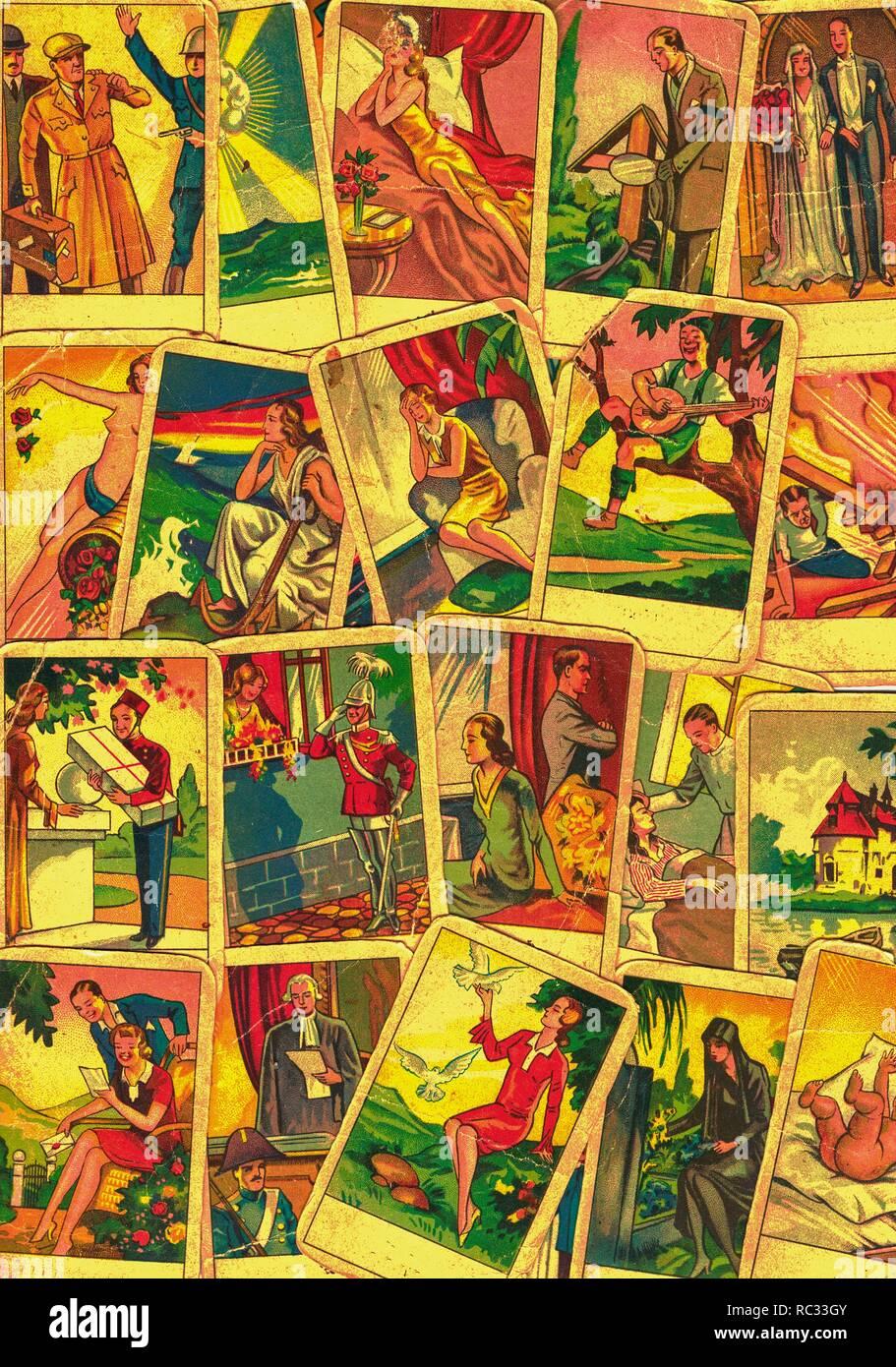 Vintage tarot Karten. Wahrsagen mit einem der beliebtesten okkulten Tarot Karten Stockbild