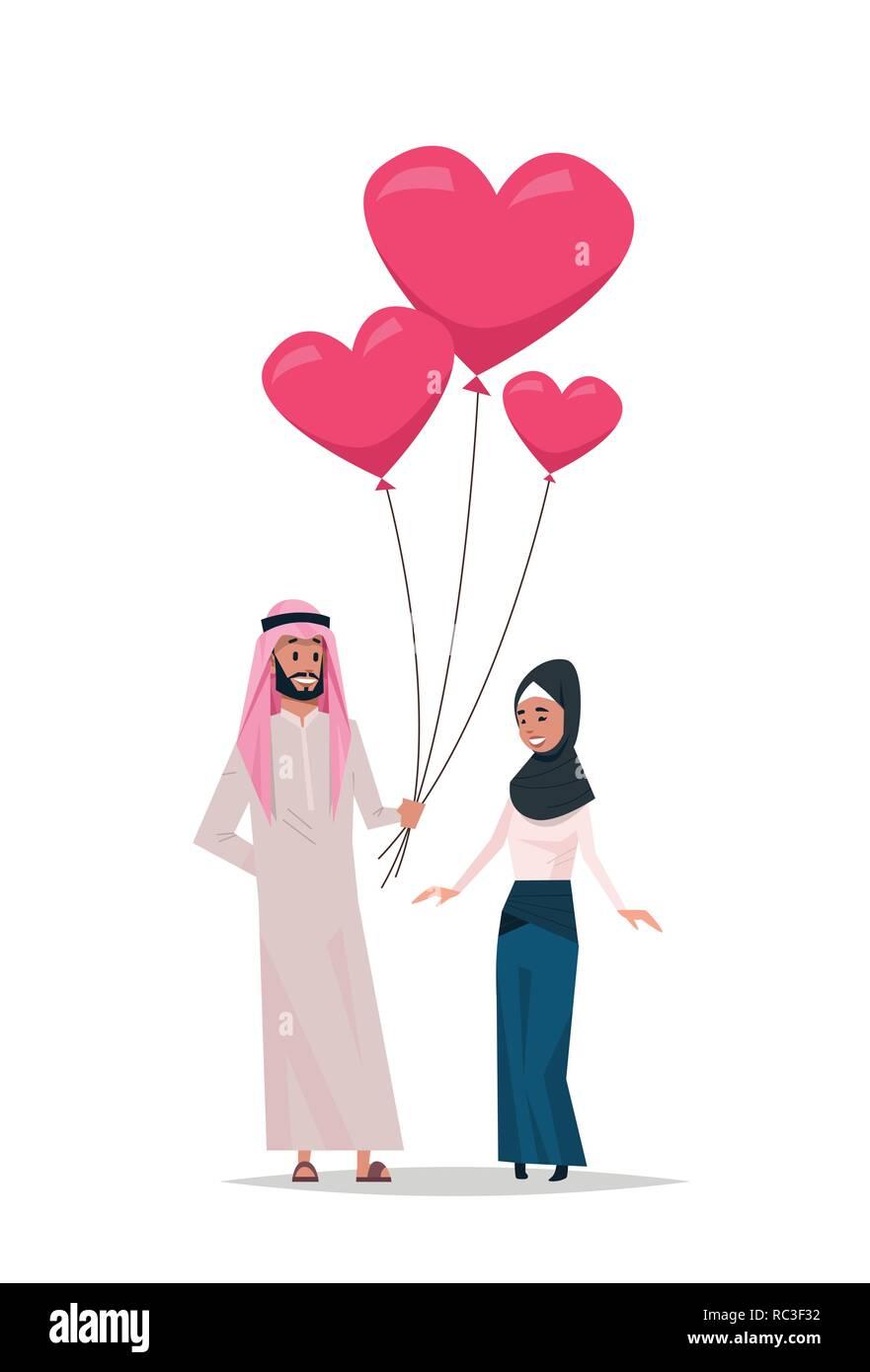 Arabischen Mann, Frau Rosa Herz Luftballons happy valentines ...