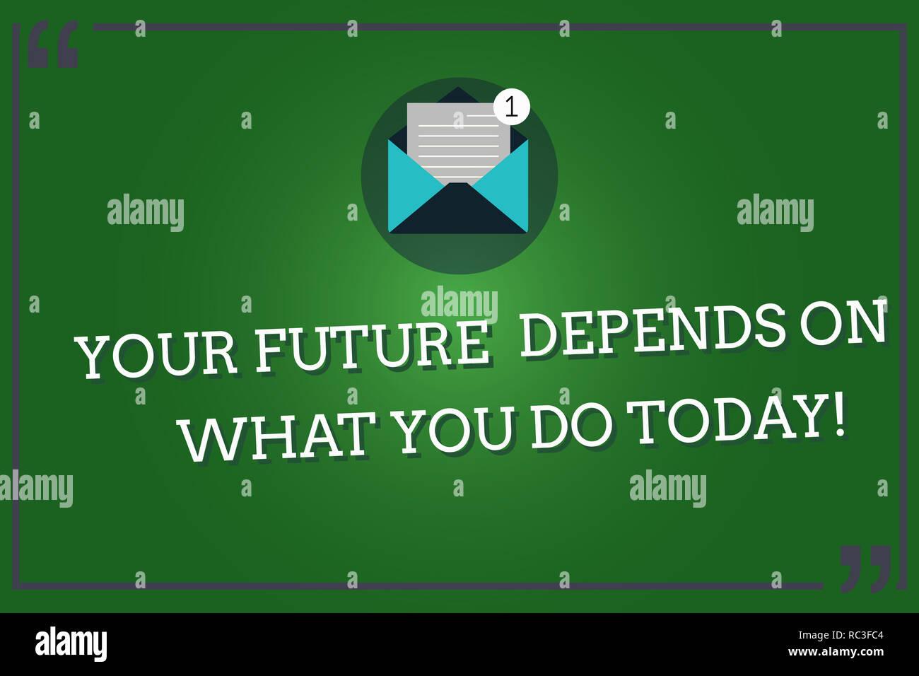 81642c5c5923 Wort schreiben Text Ihre Zukunft hängt davon ab, was Sie heute tun ...