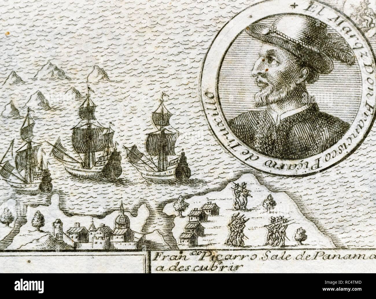 Francisco Pizarro y Gonzalez, 1 los Atabillos (c.1471 oder 1476-1541). Spanische Eroberer des Inkareiches und Gründer von Lima. Peru. Pizarro von Panama in Richtung Süden. Gravur, 1726. Stockfoto