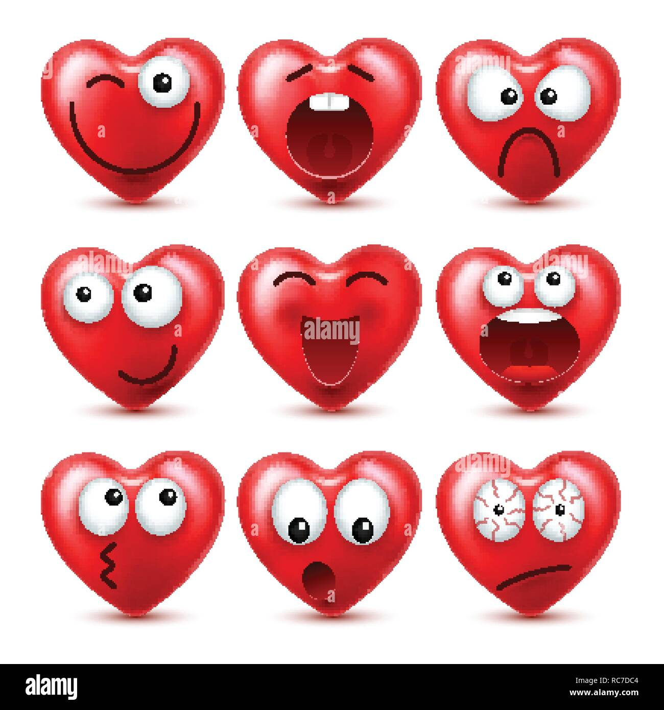 Herz Smiley Emoji Vektor einrichten für Valentines Tag