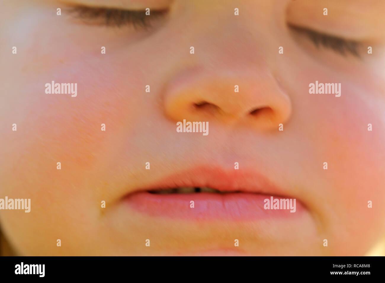 Art schläft, Gesicht Nahaufnahme | Kind schlafen, Gesicht Nahaufnahme Stockbild