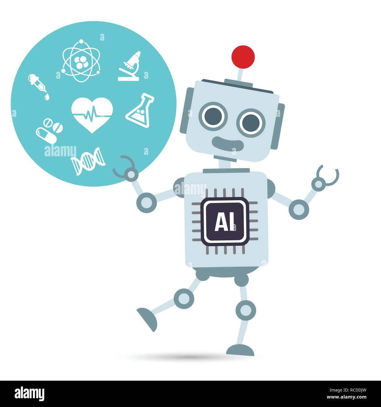 AI Künstliche Intelligenz Roboter mit medizinischen Element vector eps Abbildung 10 Stock Vektor