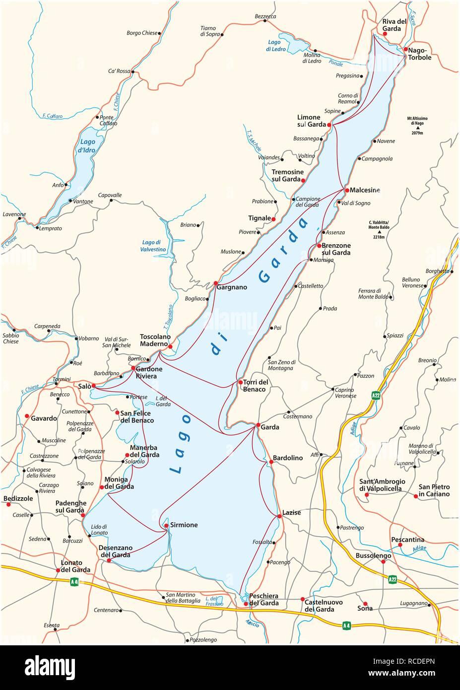 Karte Von Der Oberen Italien Gardasee Italien Vektor Abbildung