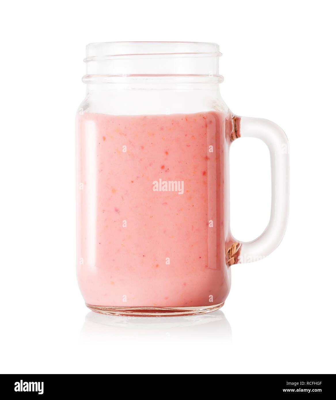 Berry Smoothie oder Joghurt in Mason jar Stockfoto