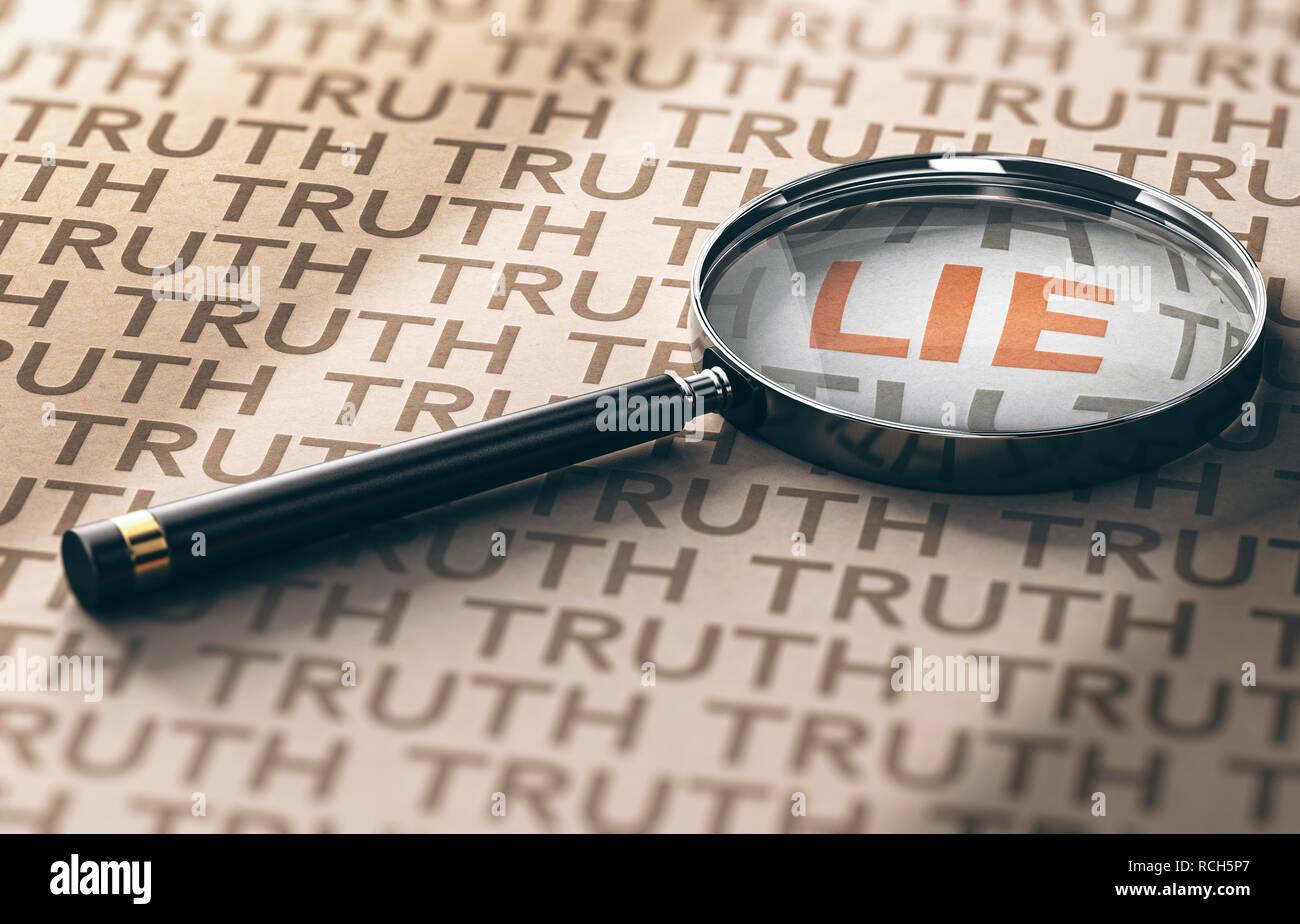 3D-Darstellung einer Lupe mit Fokus auf das Wort Lüge über Kraftpapier Hintergrund, Privatermittler Konzept. Stockbild