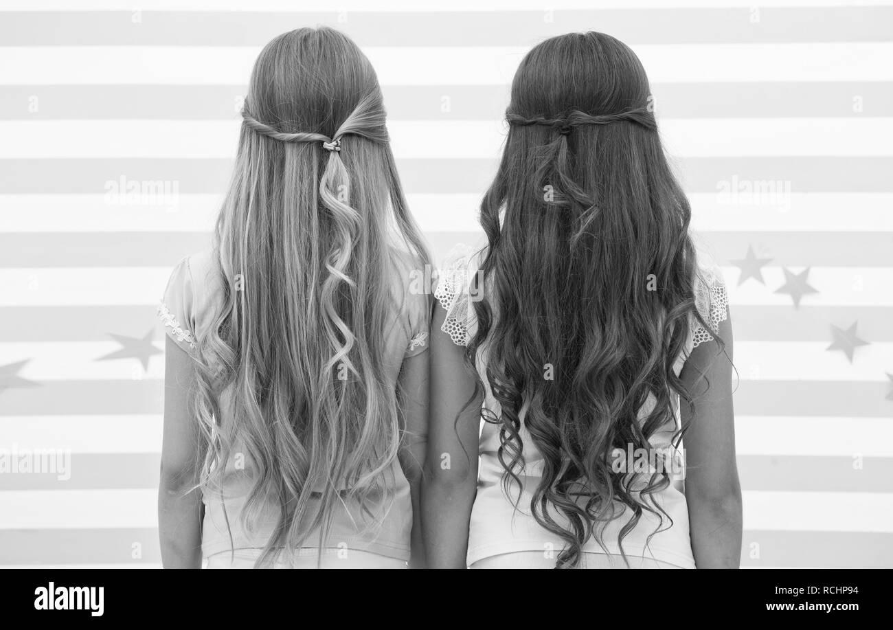 Mädchen Kinder Langes Lockiges Haar Ansicht Von Hinten Haar