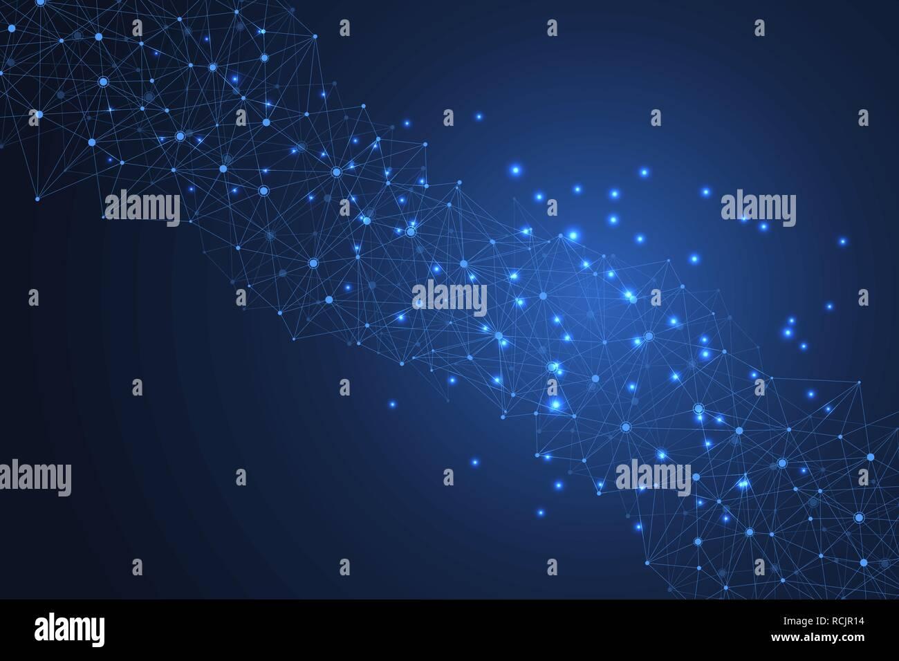 Abstrakte plexus Hintergrund mit Linien und Punkten. Plexus geometrischen Effekt große Daten mit Verbindungen. Linien Plexus, minimale Array. Digitale Daten Visualisierung. Vector Illustration Stock Vektor