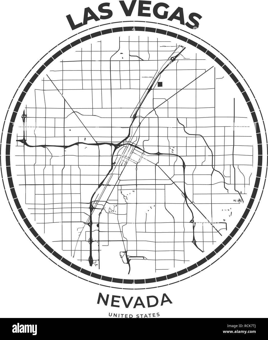 T-Shirt map Abzeichen von Las Vegas, Nevada. T-Shirt print ...