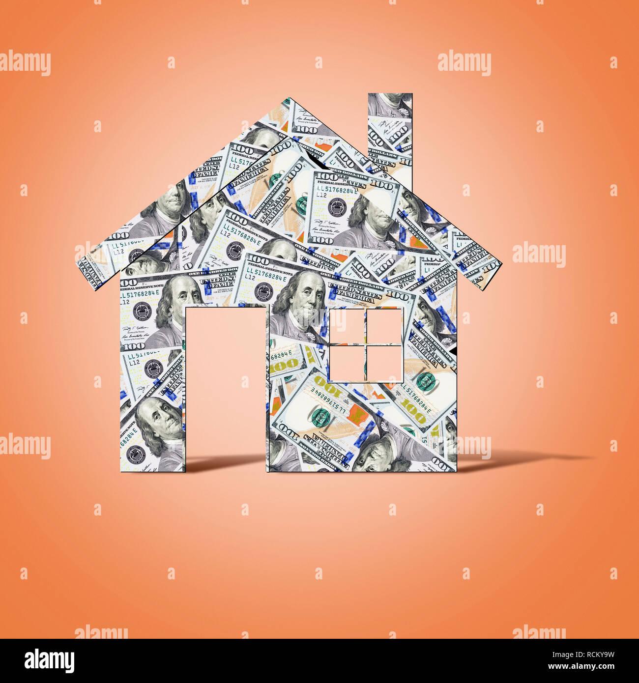US Dollar Banknoten, die in Form von Haus, Computer Generated Images, orange Farbe Hintergrund Stockbild