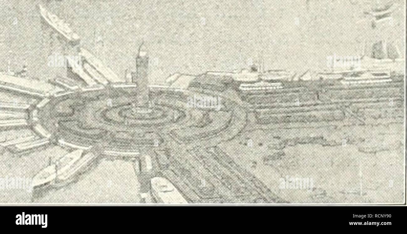 . Gartenkunst sterben. Landschaftsbau; Gärten - Europa. Blick auf den geplanten Yachthafen und den daran anschiiefsenden Lagunenpark in Chicago. Rechts der Grantpark. Bundeshauptstadt Washington von L'Enfant, der größten - Ganzs auf dem Papier stehen geblieben und Gelegent-lich des Jubiläumsfestes im Jahre 1900 ausgegeben worden ist, um von dem heutigen Parkausschusse, neu belebt und den neuzeitlichen Verhältnissen angepaßt, die gesamte Umgegend von Washington ausgedehnt zu werden. Wir finden da ferner den Plan des Zentralparkes von New York, der 340 ha groß, Ende der fünfziger Jahre de Stockbild