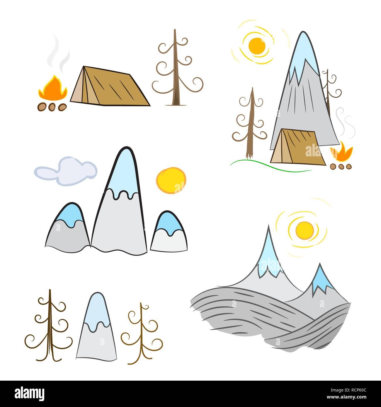 Vektor-Illustration Camping Zelt Puzzle