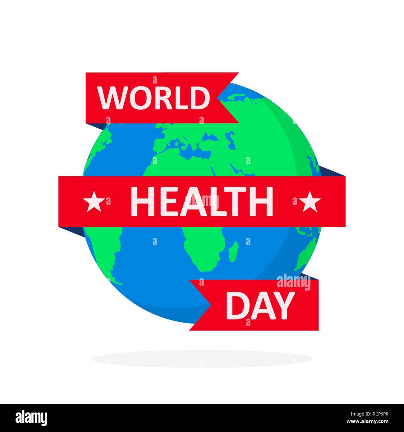 World Health Day Poster mit Globus und Farbband im flachen Design. Vector Illustration. Globus mit roter Schleife, Ökologie Konzept, Stockbild