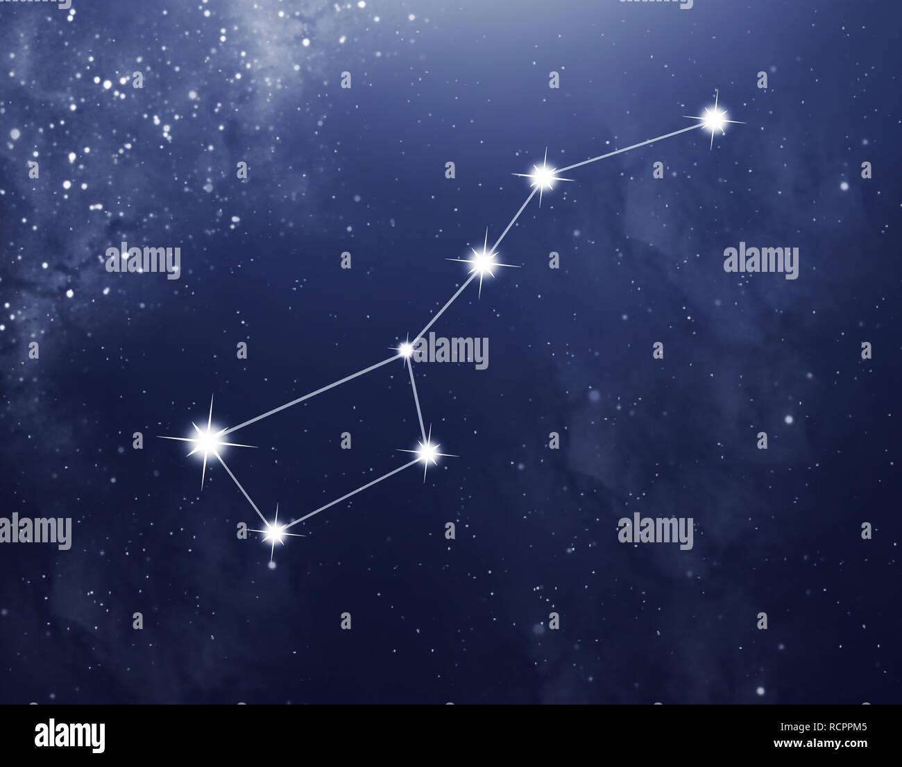 Sternbild Großer Bär auf dem blauen Sternenhimmel als Hintergrund ...