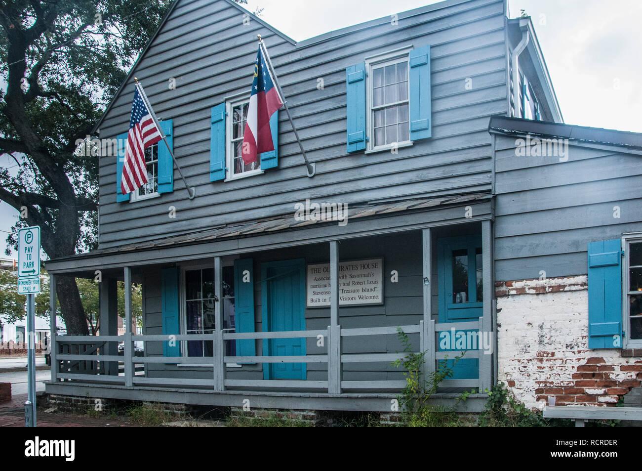 Die alten Piraten Haus war ursprünglich ein Gasthaus für Segler und Termine bis 1753 aber jetzt ist es ein Restaurant, Savannah, Georgia Stockbild