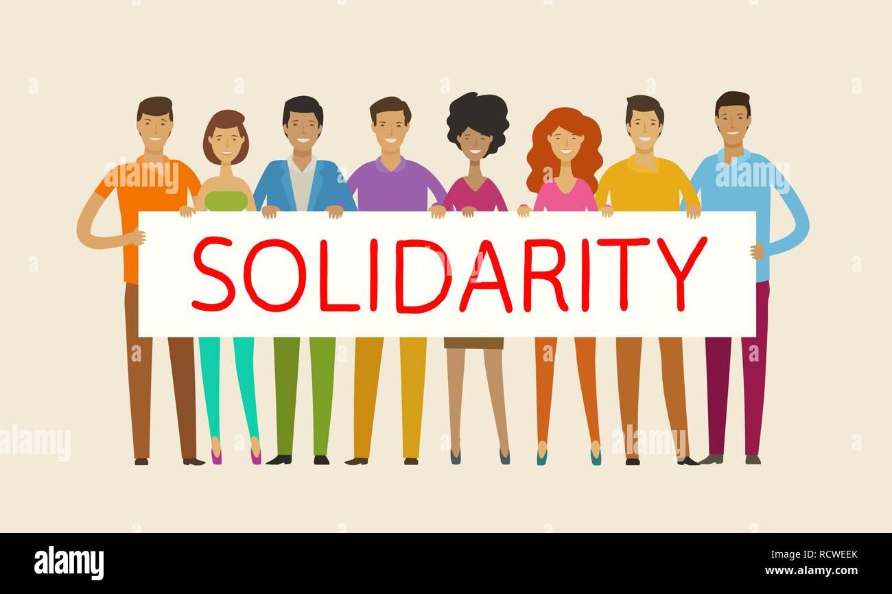 Menschen mit leeren Banner. Solidarität, Kohäsion, Einheit Konzept. Vector Illustration Stockbild