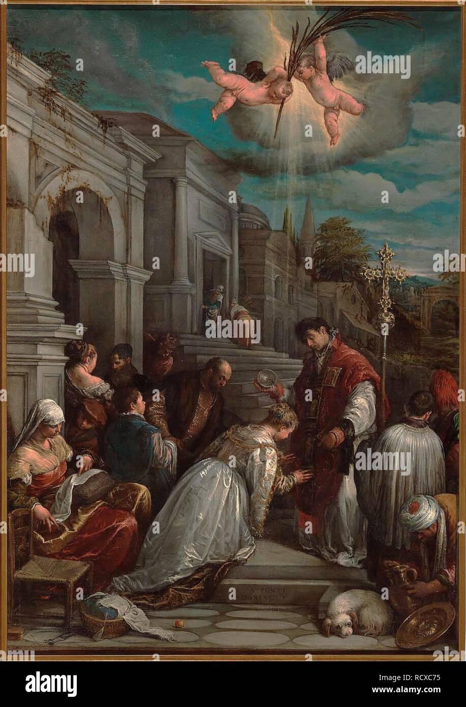 Saint Valentine taufen Hl. Lucilla. Museum: Museo Civico, Bassano del Grappa. Autor: Bassano, Jacopo, il Vecchio. Stockbild