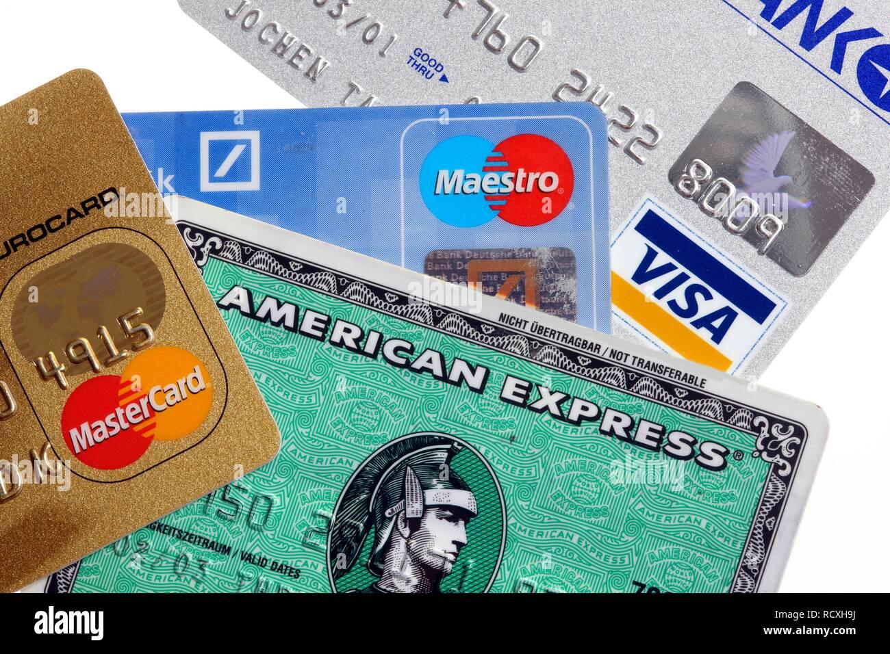 Maestro Ec Karte.Verschiedenen Kreditkarten Mastercard American Express Visa