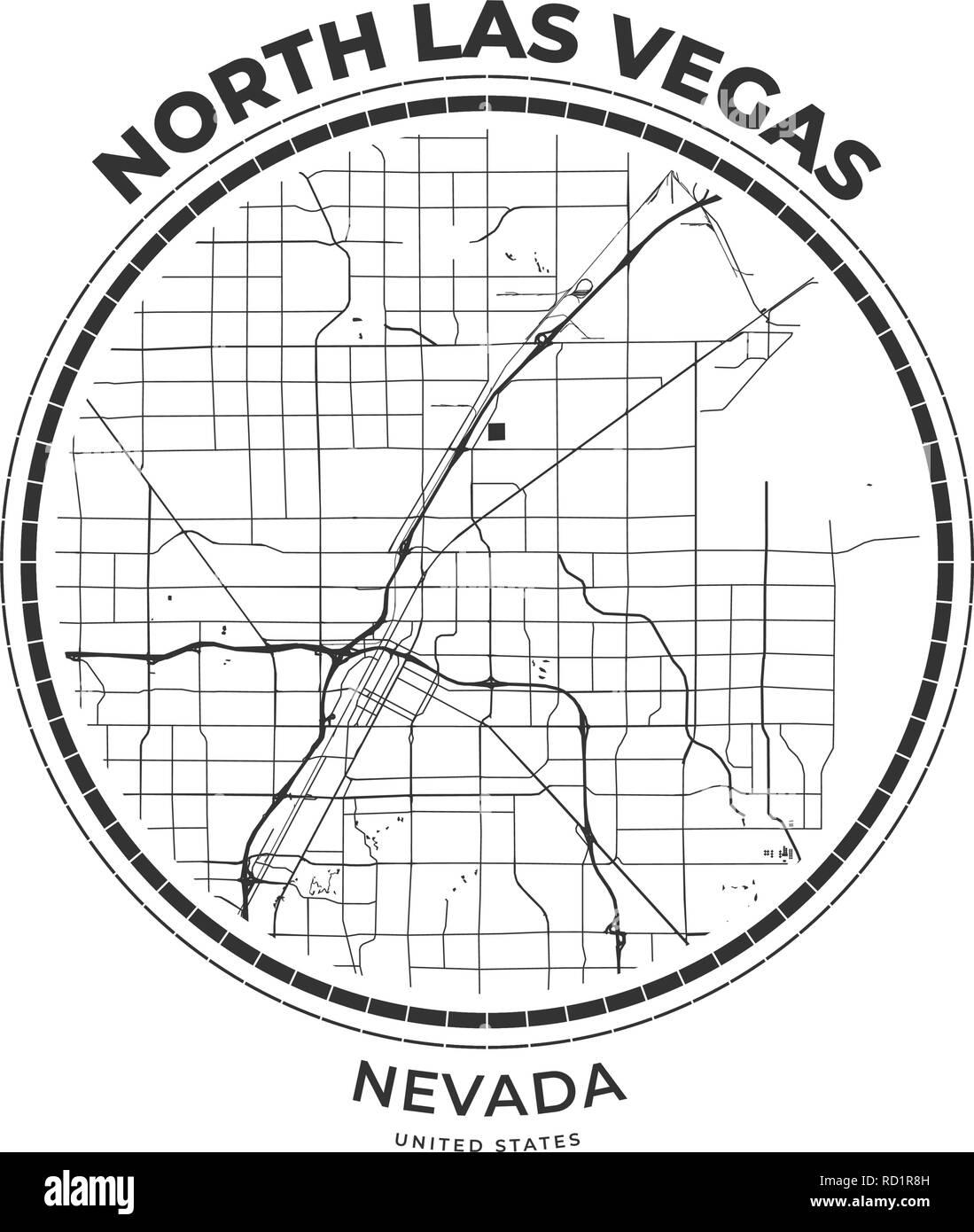 T-Shirt map Abzeichen von North Las Vegas, Nevada. T-Shirt print ...