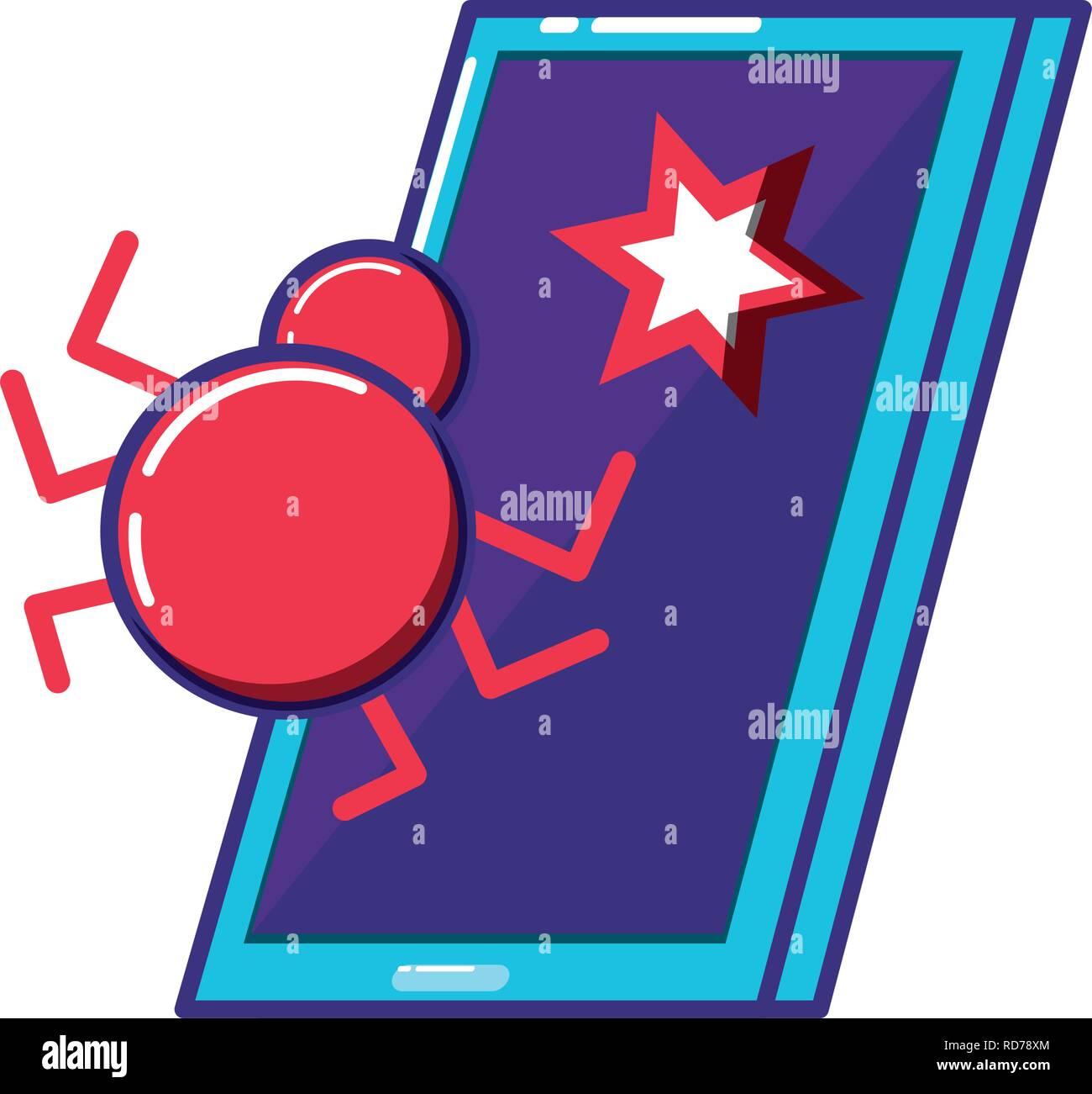 Smartphone mit Virus Infektion Vector Illustration Design Stockbild