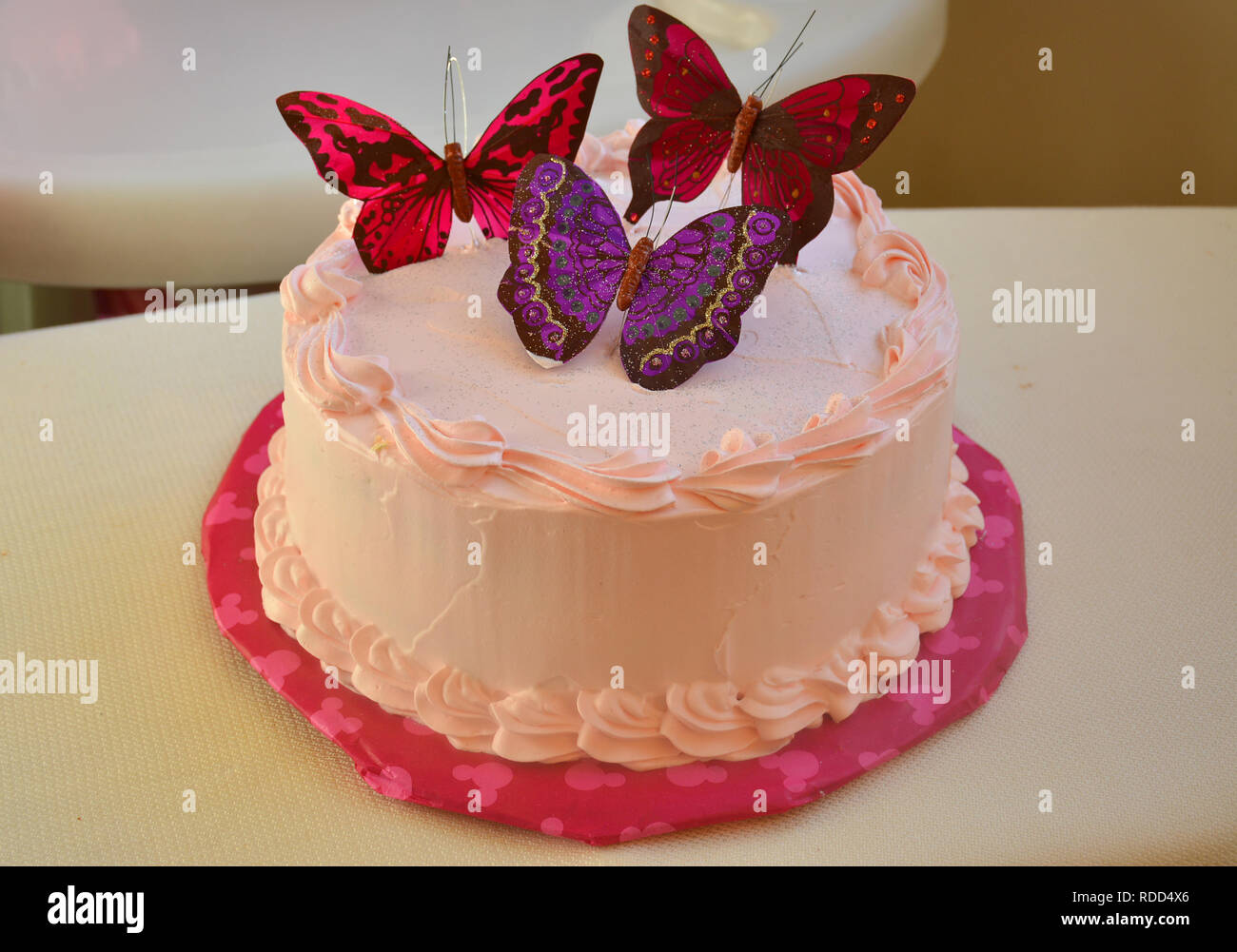 Bunt Verzierten Kuchen Mit Sussen Schmetterlingen Geburtstagskuchen Stockbild
