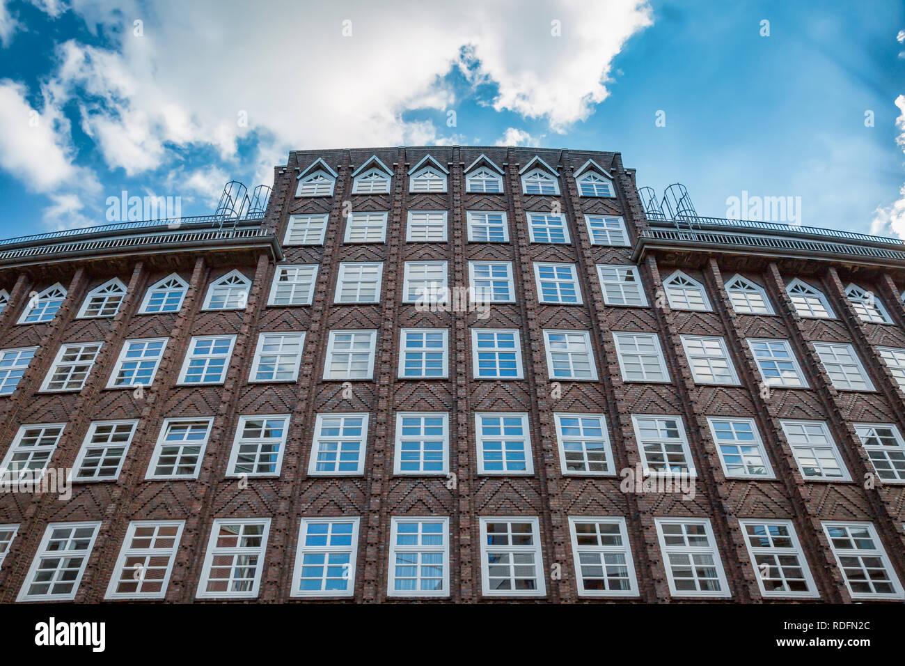 Restaurierten, historischen Fassade in Hamburg Altstadt Stockbild