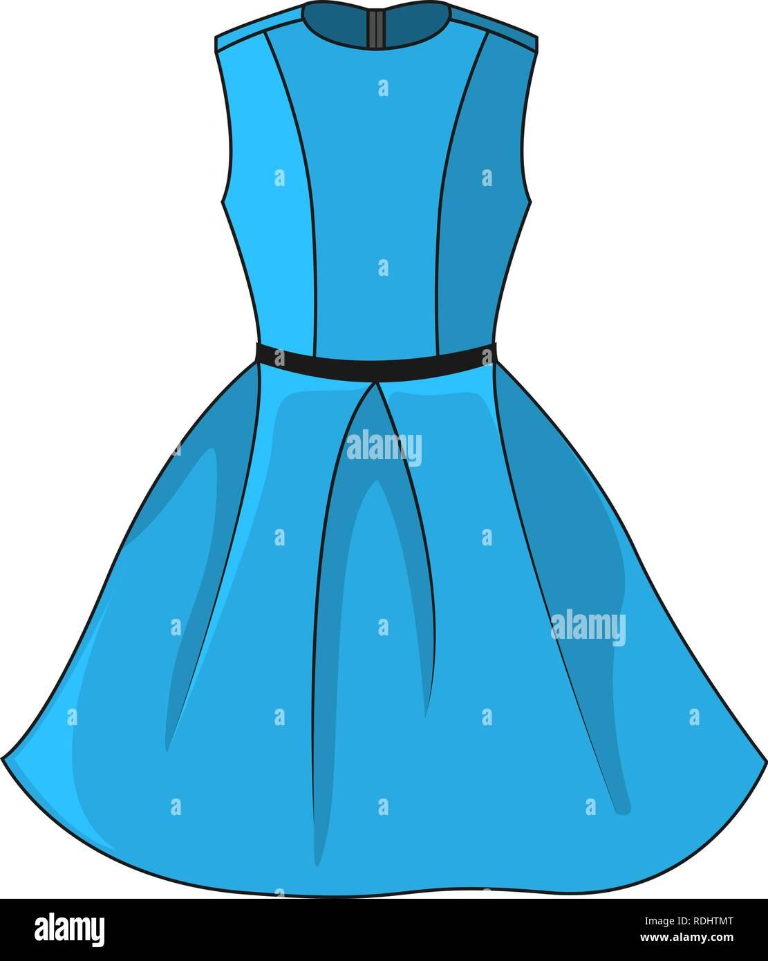 elegantes blaues kleid symbol. schöne kurze blaue kleid mit