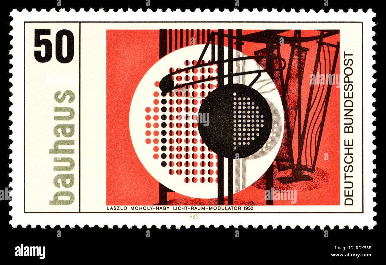 Deutsche Briefmarke (1985): Bauhaus-Licht-Raum-Modulator (Laszlo Moholy-Nagy, 1930) Stockbild