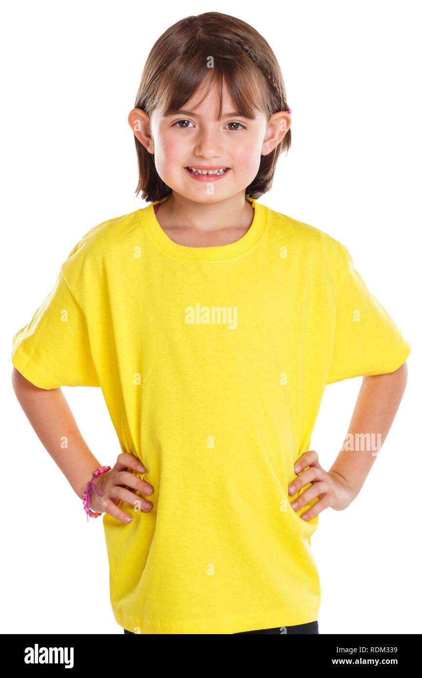 Kind kleines Mädchen Oberkörper Portrait auf weißem Hintergrund Stockbild
