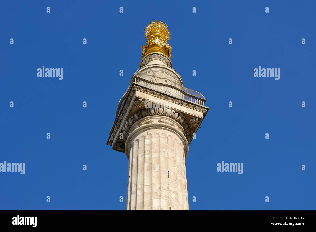Denkmal für den großen Brand von London, England, Vereinigtes Königreich Stockbild