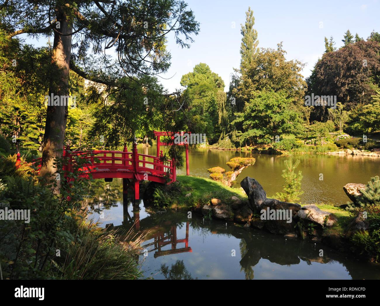 Einen wunderschönen Blick auf den Japanischen Garten in Frankreich Stockbild