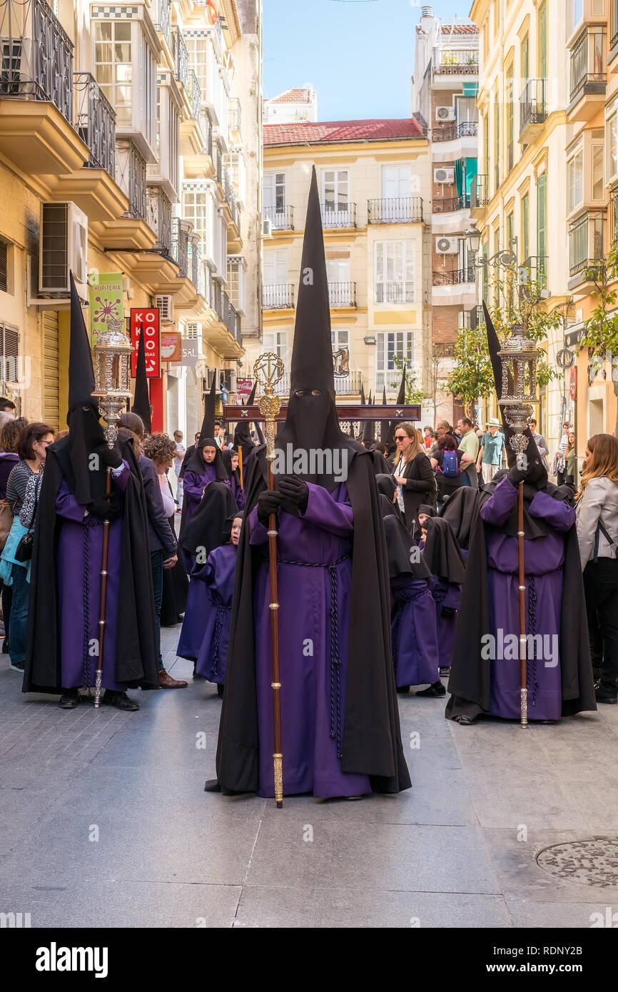 Malaga, Spanien - 26. März 2018. Die Teilnahme an der Prozession in der Heiligen Woche in einer spanischen Stadt Stockfoto