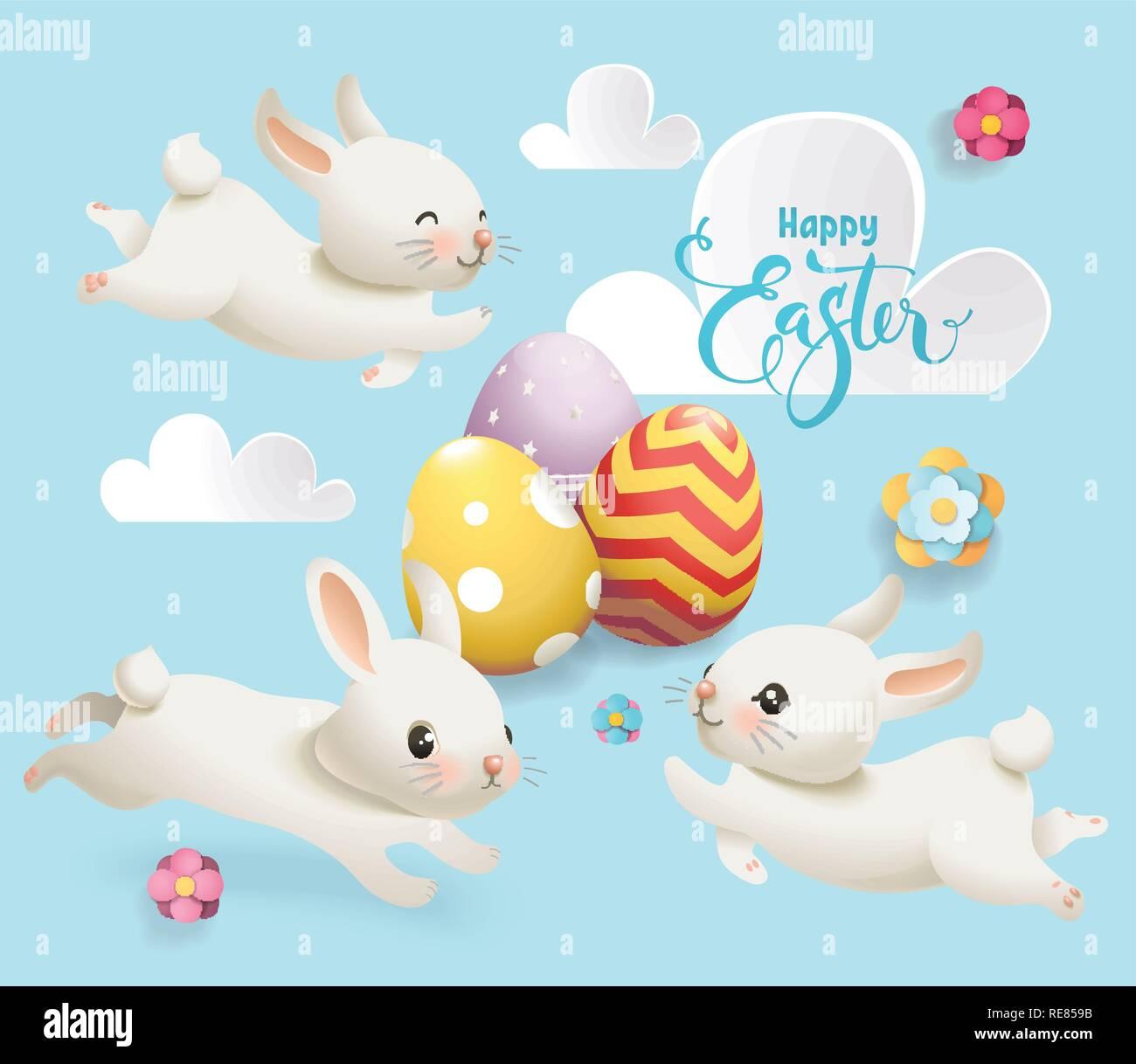 Frohe Ostern Niedliche Häschen Ei Vektor Banner Cute White Rabbit