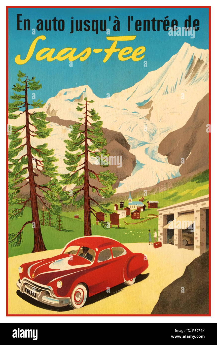 """SAAS-FEE Schweizer Alpen Jahrgang 1930 Switzerland Travel Poster', die mit dem Auto an den Eingang des Aaas-Fee"""" Ferienort in den Schweizer Alpen in der Nähe der italienischen Grenze, in der Nähe von Berge bekannt, mehr als 4.000 m über dem Meer. Es ist das Tor zu mehr als 100 km Pisten für Ski und Snowboard fahren, rodeln und Rodelbahnen. Stockfoto"""