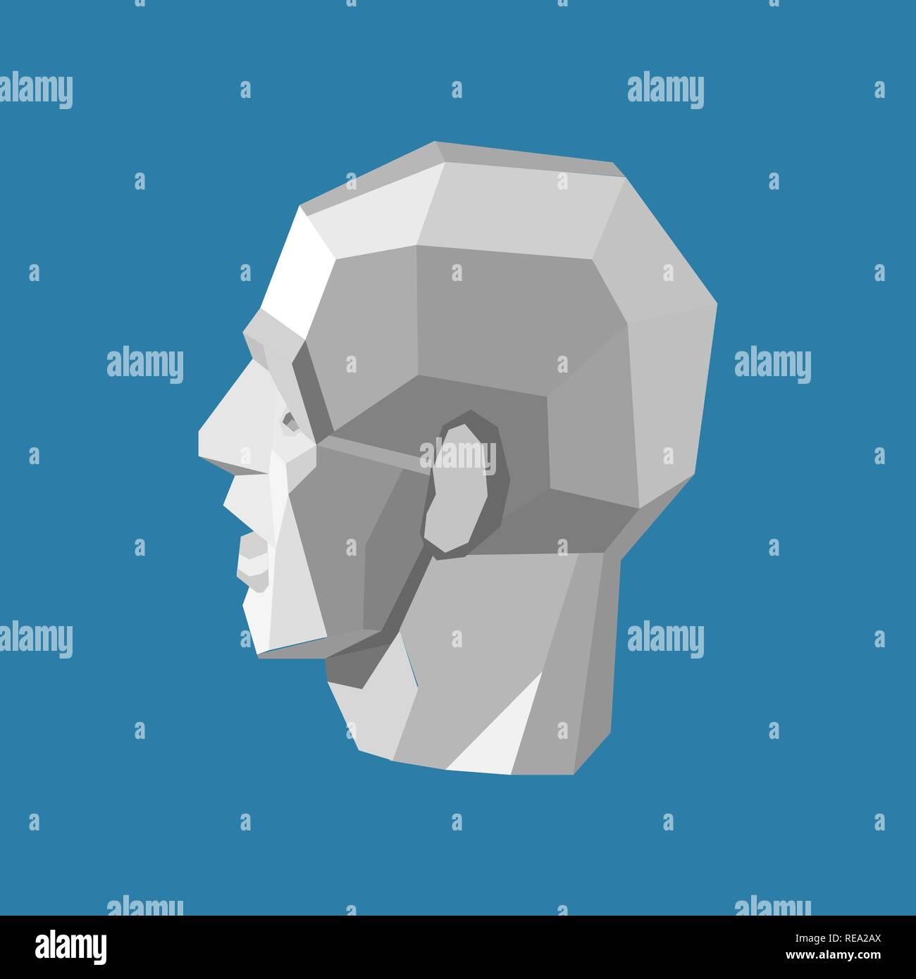 Abstrakt menschlichen Kopf stilisiert als Weiße triangulierten Skulptur auf blauem Hintergrund Stockbild