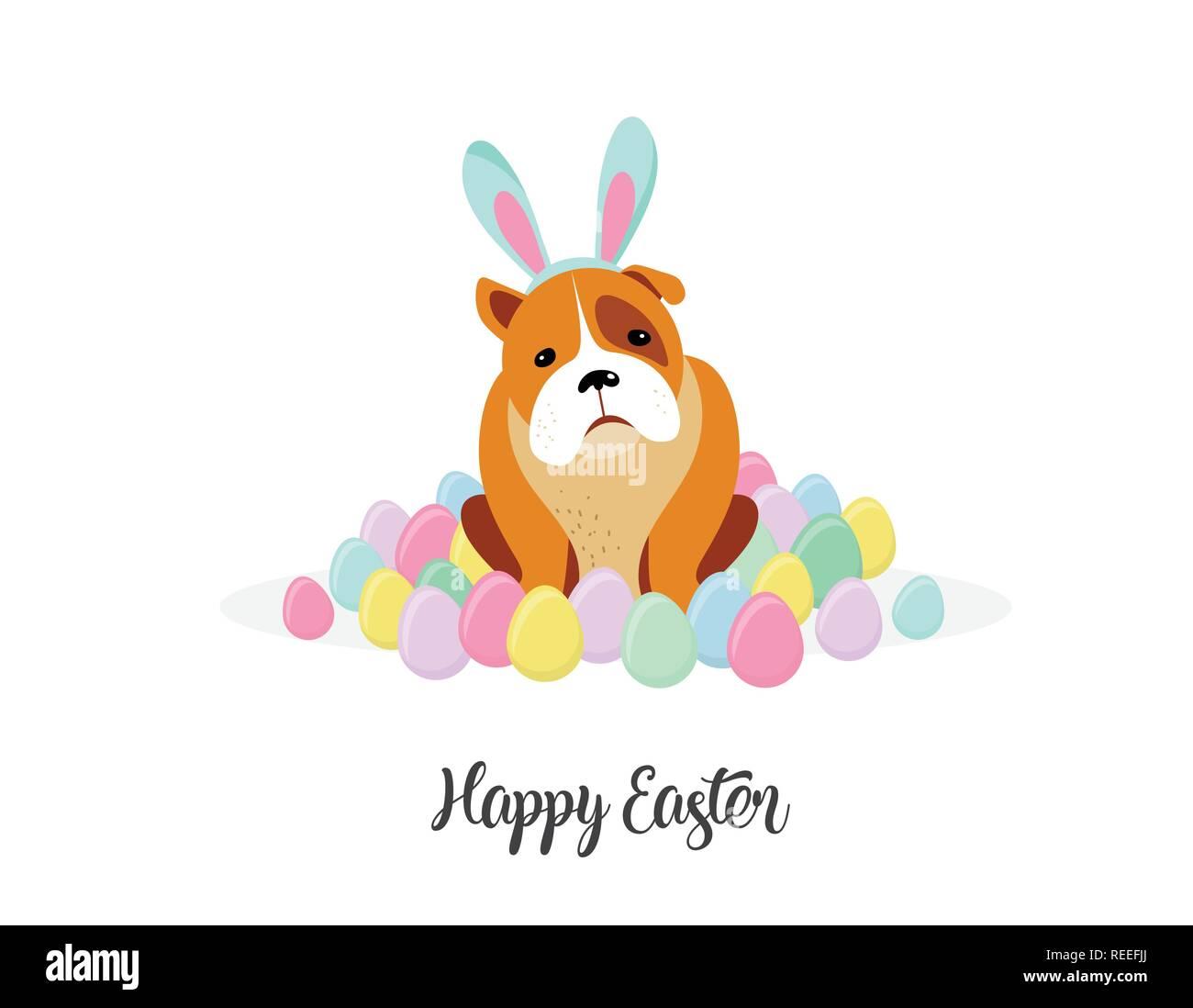 Frohe Ostern Karte.Frohe Ostern Karte Hund Hase Kostum Von Ostereier Umgeben