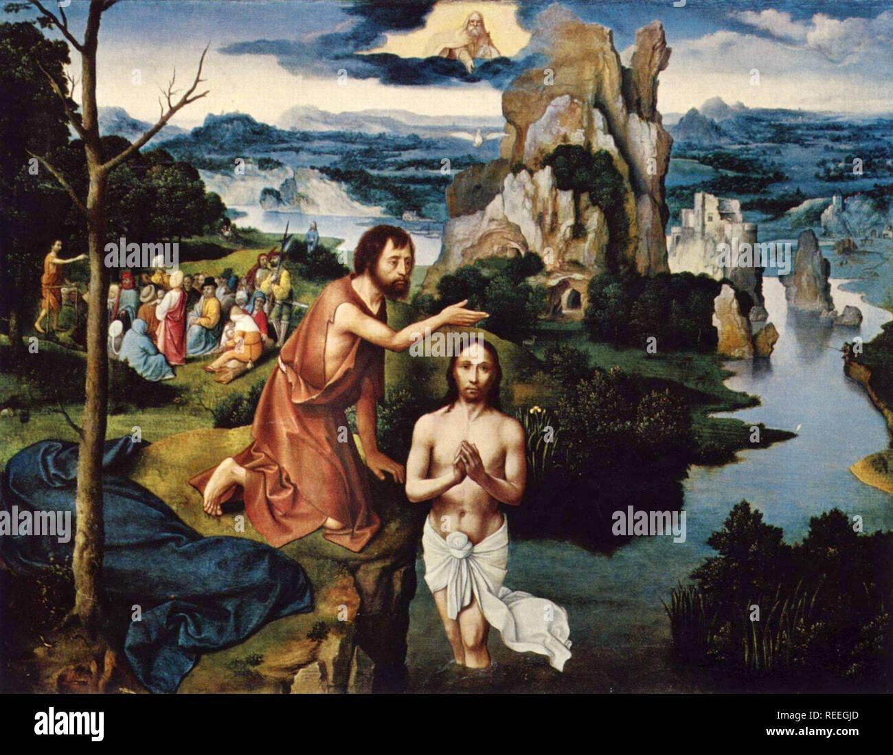Taufe Christi von Joachim Patinir Stockbild
