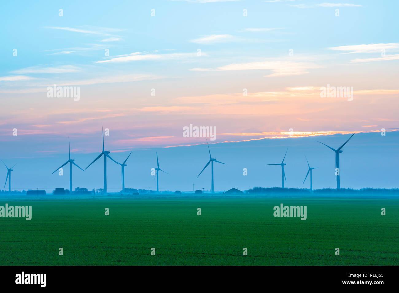 Wind Power UK, Blick über eine Cambridgeshire fen auf eine Reihe von Windenergieanlagen, England, UK. Stockbild