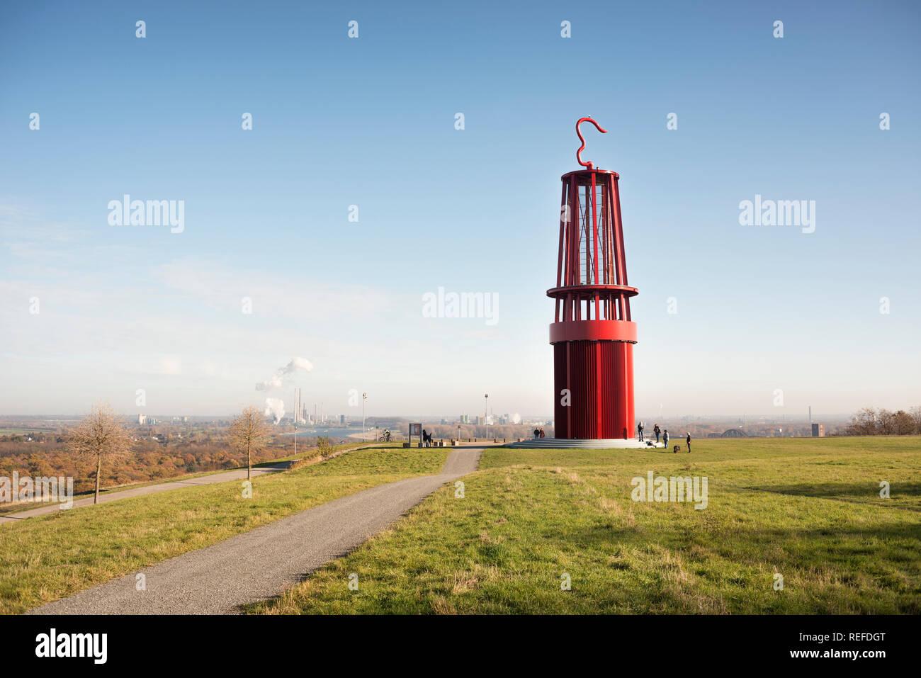 Das GELEUCHT, Halde Rheinpreussen, Deutschland. Die ca. 30 Meter hohe Wahrzeichen wurde von dem Künstler Otto Piene gebaut. Es am 17. September 2007 eröffnet Stockbild