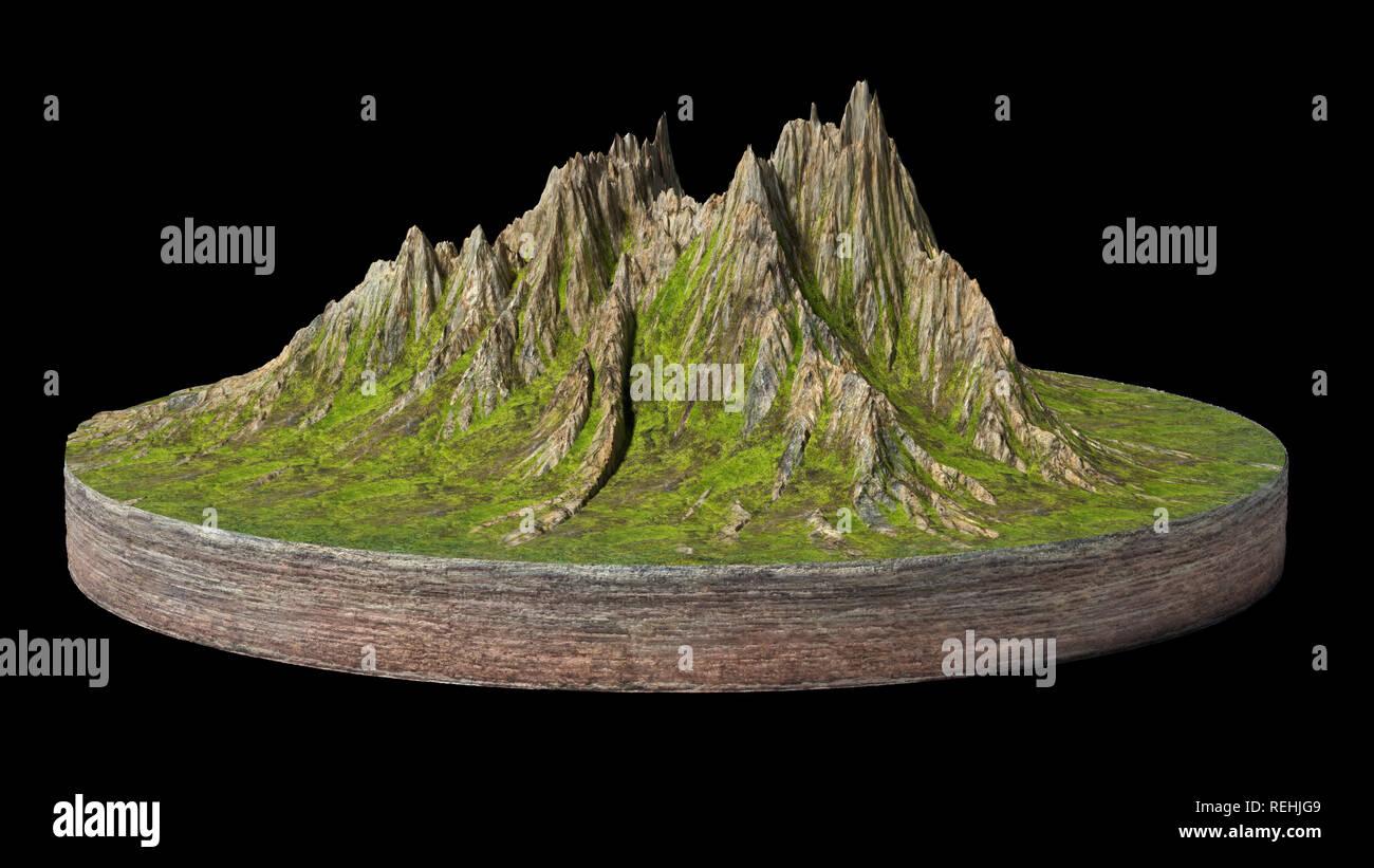 Fußboden Querschnitt ~ Modell der einen querschnitt der boden mit berge und wiesen d