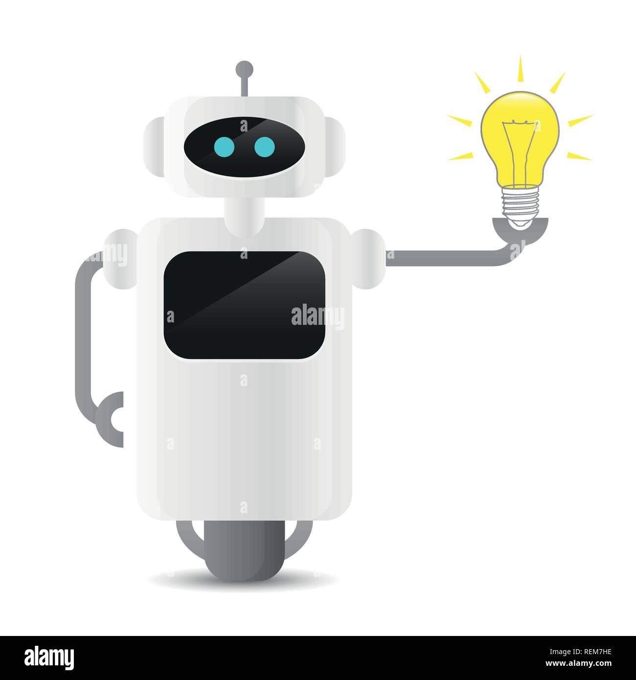 Niedliche Roboter Holding eine Glühbirne Technologie idee Konzept Vektor-illustration EPS 10. Stock Vektor