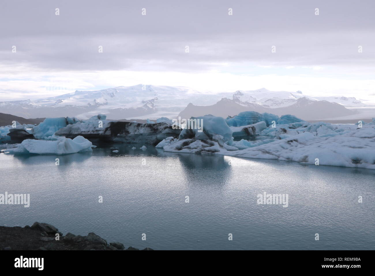 Nachmittag in Island Gletscherlagune Jökulsárlón Stockbild
