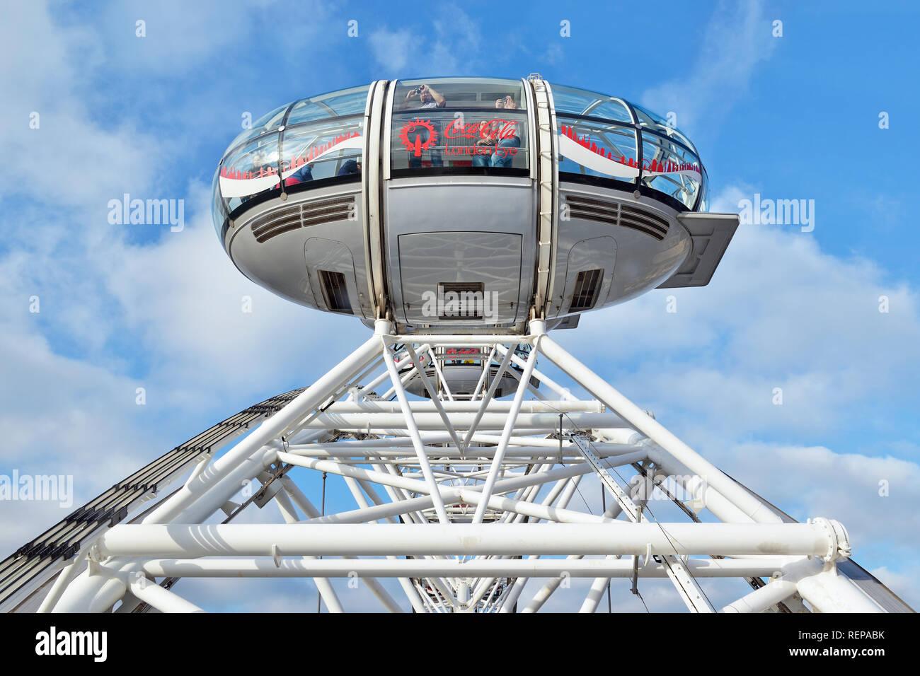Kapsel auf dem London Eye, London, England, Vereinigtes Königreich Stockbild