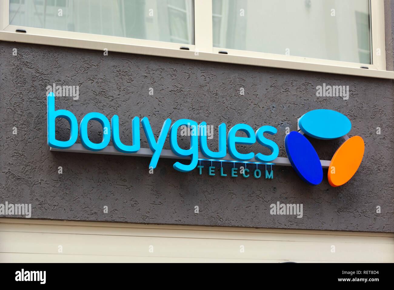 Logo de Bouygues Telecom // Frankreich. Logo der französische Telekommunikationsfirma Bouygues Stockfoto