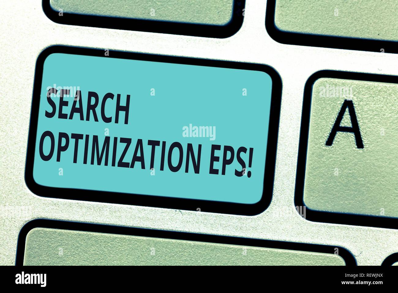 Schreiben Hinweis Übersicht Suche Optimierung Eps. Business foto Präsentation Prozess, die sich auf die Sichtbarkeit einer Website Taste der Tastatur Absicht zu erstellen Stockbild
