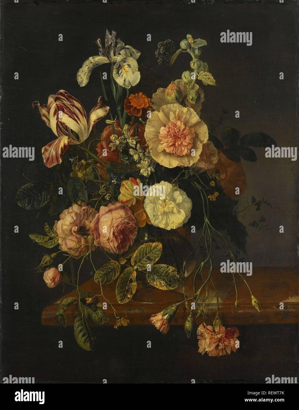Stillleben mit Blumen. Datierung: 1670 - 1727. Maße: H 65 cm x W 51,5 cm; d 6cm. Museum: Rijksmuseum, Amsterdam. Autor: Jacob van Walscapelle (zugeschrieben). Rachel Ruysch (Namensnennung zurückgewiesen). Stockfoto