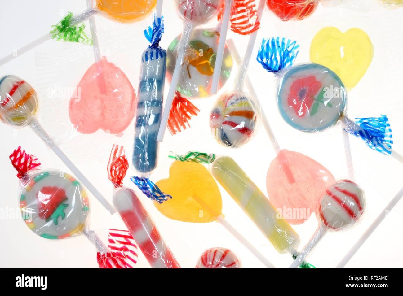 Verschiedene Zucker, Bonbons, Lutscher, Sauger, Süßigkeiten Stockbild