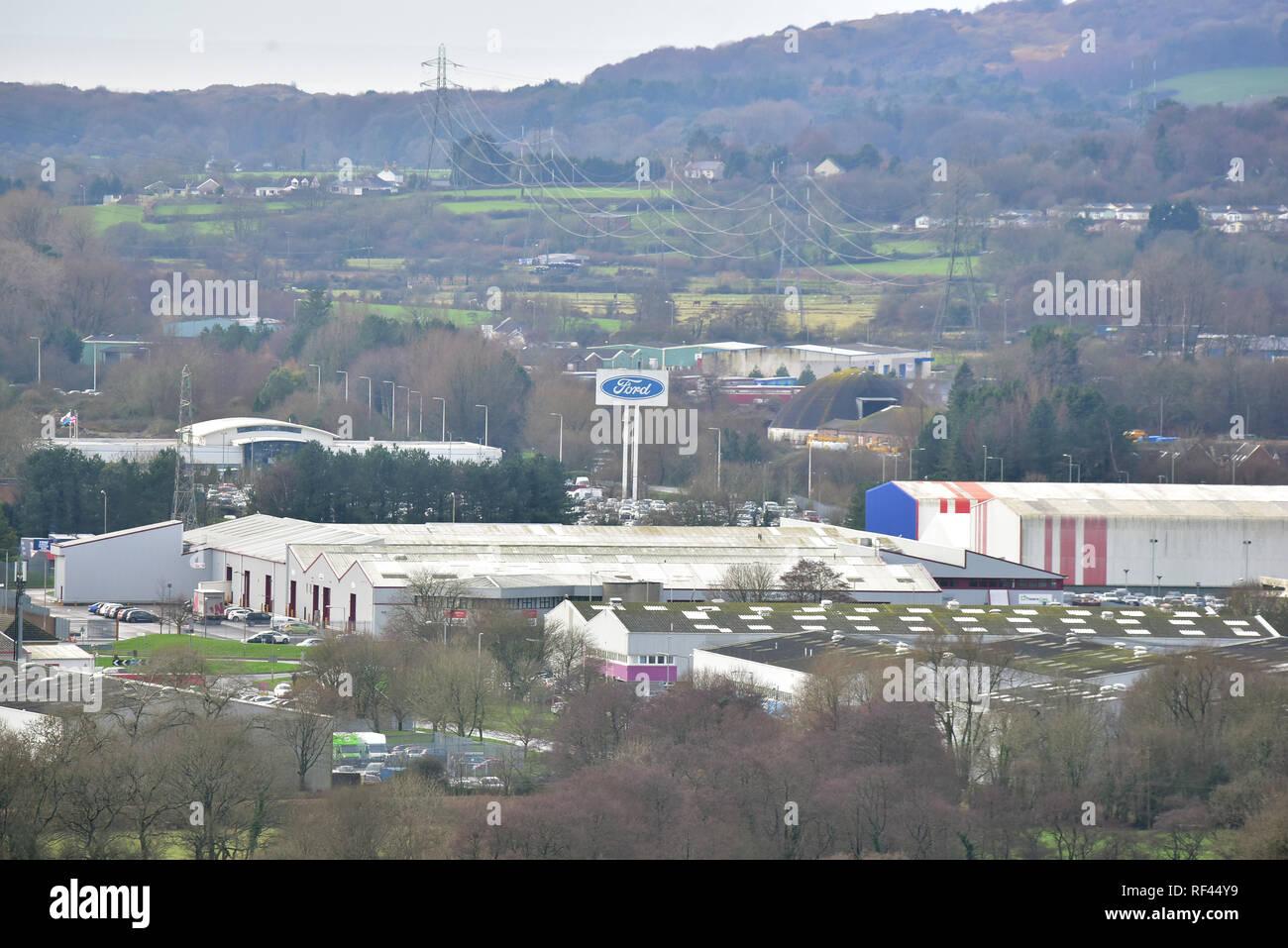 Ford Motorenwerk, Waterton Bridgend Industrial Estate, in Bridgend, Südwales. Eine Fertigung von Ford Europa. 25/01/2019 Stockbild